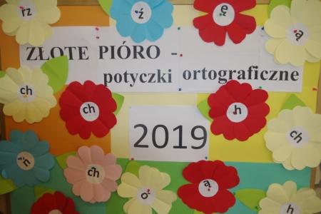 """""""ZŁOTE PIÓRO- potyczki ortograficzne"""" 2019"""